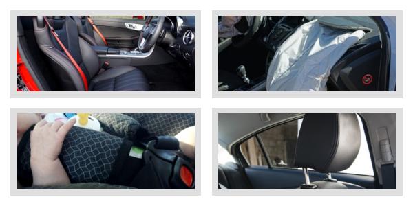 Cinture di sicurezza, Airbag, Sistemi di ritenuta per bambini e Poggiatesta