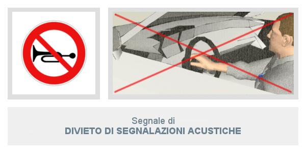 Segnale divieto di segnalazioni acustiche