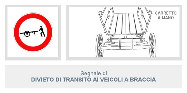 Segnale divieto di transito ai veicoli a   braccia