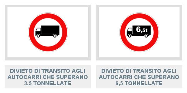 Divieto Di Transito Agli Autocarri Che Superano 3,5 T e Agli Autocarri Che Superano 6,5 T