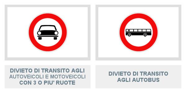 Segnali di Divieto Di Transito Agli Autoveicoli e Motoveicoli Con 3 O Più Ruote e Agli Autobus