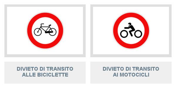 Segnali di Divieto Di Transito Alle Biciclette e Ai Motocicli
