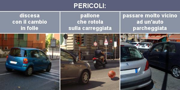 Pericoli: discesa con il cambio in folle, pallone che rotola sulla carreggiata e passare molto vicino ad un'auto parcheggiata
