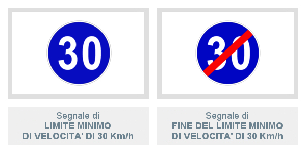 Limite Minimo Di Velocità Di 30 Km/h e Fine Del Limite Minimo Di Velocità