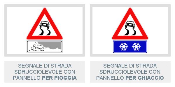Pannelli integrativi di strada sdrucciolevole Per Pioggia e Per Ghiaccio sotto il segnale di Strada Srducciolevole