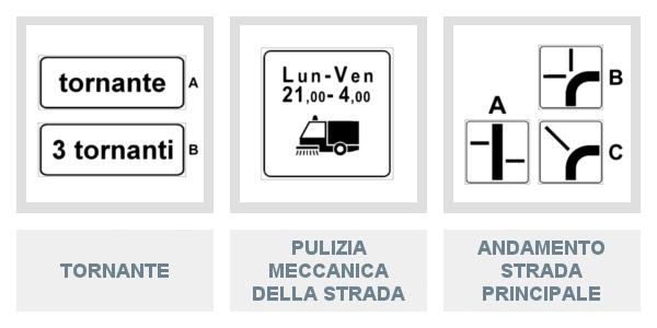 Pannelli integrativi di Tornante, di Pulizia Meccanica Della Strada e di Andamento Strada Principale