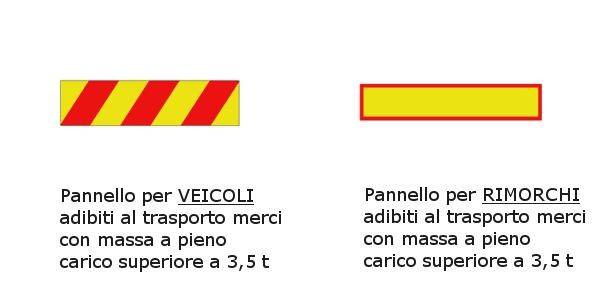 Pannelli per veicoli e rimorchi adibiti al trasporto merci con massa a pieno carico superiore a 3,5 t