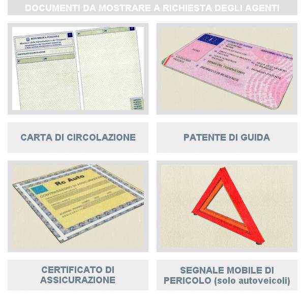 Documenti da mostrare a richiesta degli agenti