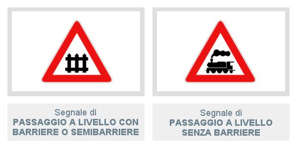 Segnale passaggio a livello con barriere o semibarriere e senza