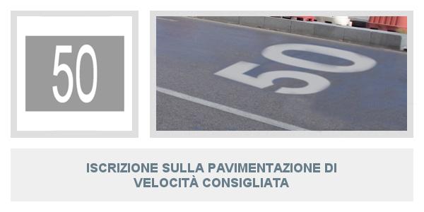 Iscrizione sulla pavimentazione di velocità consigliata
