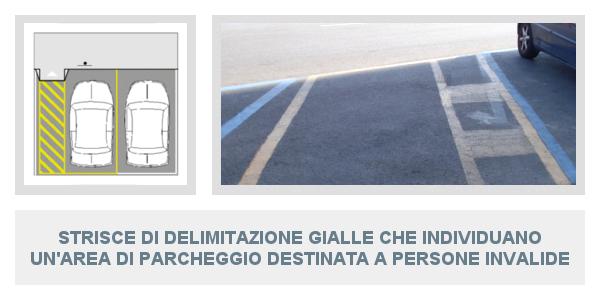 Strisce di delimitazione gialle che individuano un'area di parcheggio destinata a persone invalide