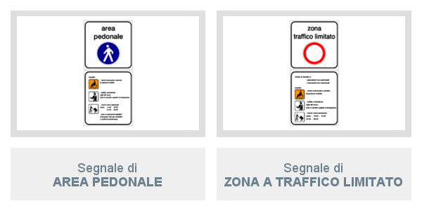 Segnali di Area Pedonale e di Zona A Traffico Limitato