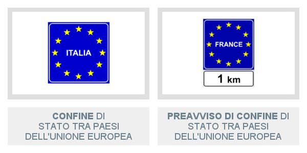 Segnali di Confine Di Stato Tra Paesi Dell'Unione Europea e di Preavviso
