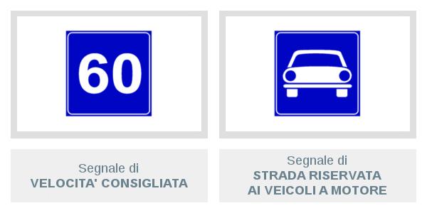 Segnali di Velocità Consigliata e di Strada Riservata Ai Veicoli A Motore