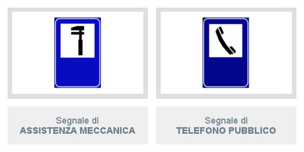 Segnali di Assistenza Meccanica e di Telefono Pubblico