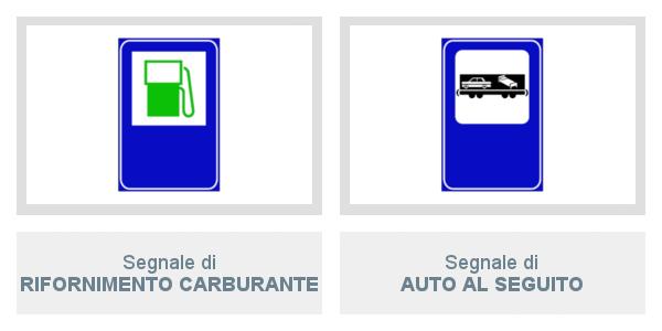 Segnali di Rifornimento Carburante e di Auto Al Seguito