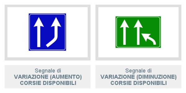 Segnali di Variazione (aumento e diminuzione) Corsie Disponibili