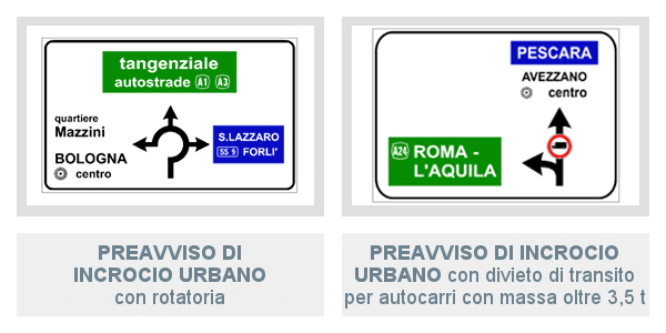 Segnali di Preavviso Di Incrocio Urbano con rotatoria e con divieto di transito per autocarri con massa oltre 3,5 t