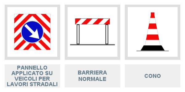 Pannello applicato su veicoli per lavori stradali, Barriera normale e Cono