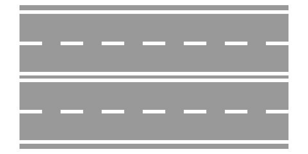 Strada a doppio senso di circolazione con quattro corsie