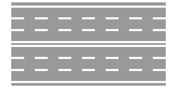 Strada a doppio senso di circolazione con sei corsie
