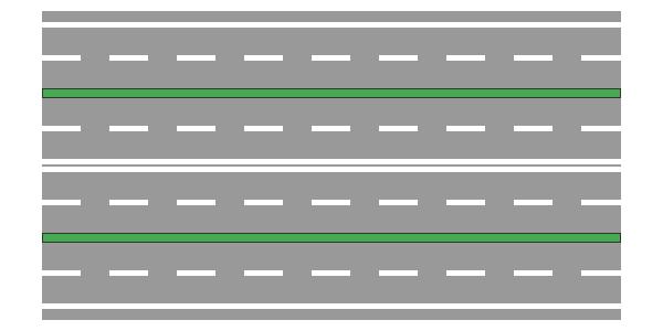 Strada a tre carreggiate e otto corsie