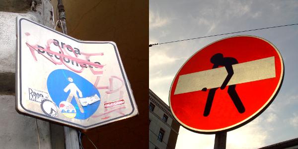 Vietato imbrattare, spostare o rimuovere la segnaletica stradale